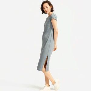 Everlane Luxe Cotton Side Slit Midi Dress - Sage M